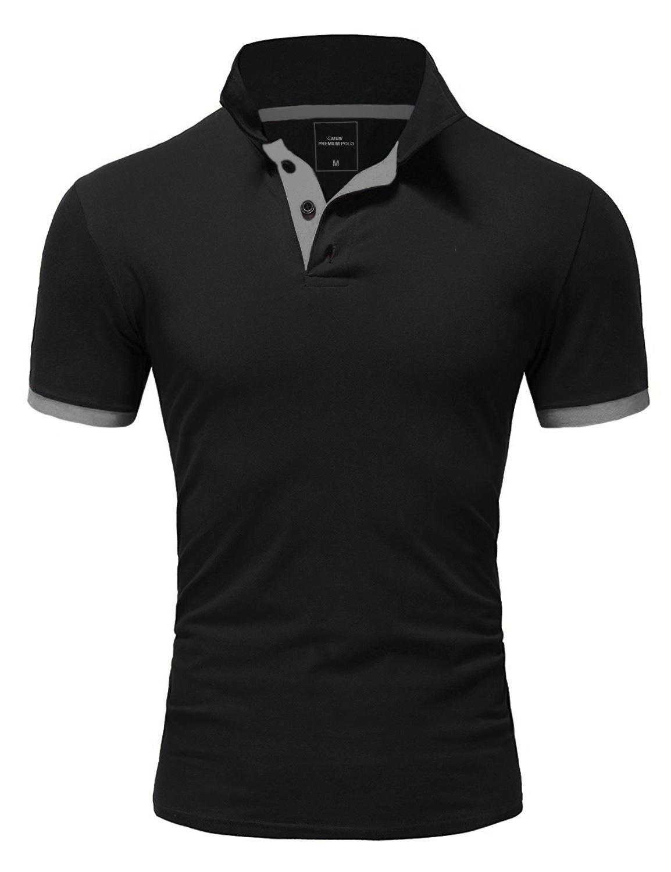 MAGLIA Polo da Uomo Basic Collo Contrasto Manica Corta Polo Camicia T-shirt 5104
