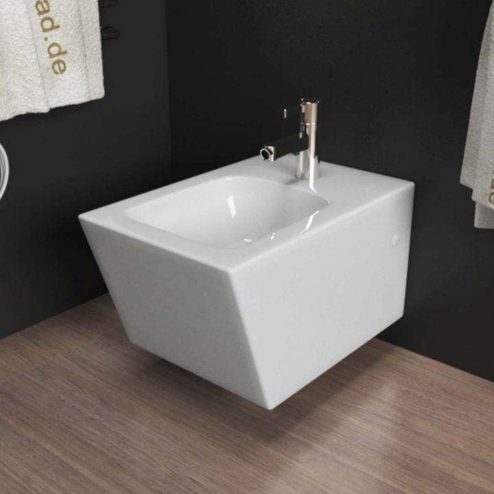 Design Wand Hänge WC + Hänge Bidet inkl. WC Sitz aus Duroplast eckig ...