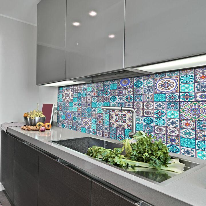 Küchenrückwand Keramikfliesen Agadir blau Folie selbstklebend Meterware
