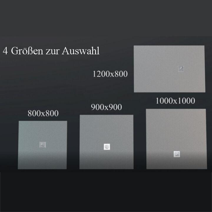 Mineralguss Duschtasse Duschwanne Dusche Gussmarmor Schieferoptik weiß 100x100cm