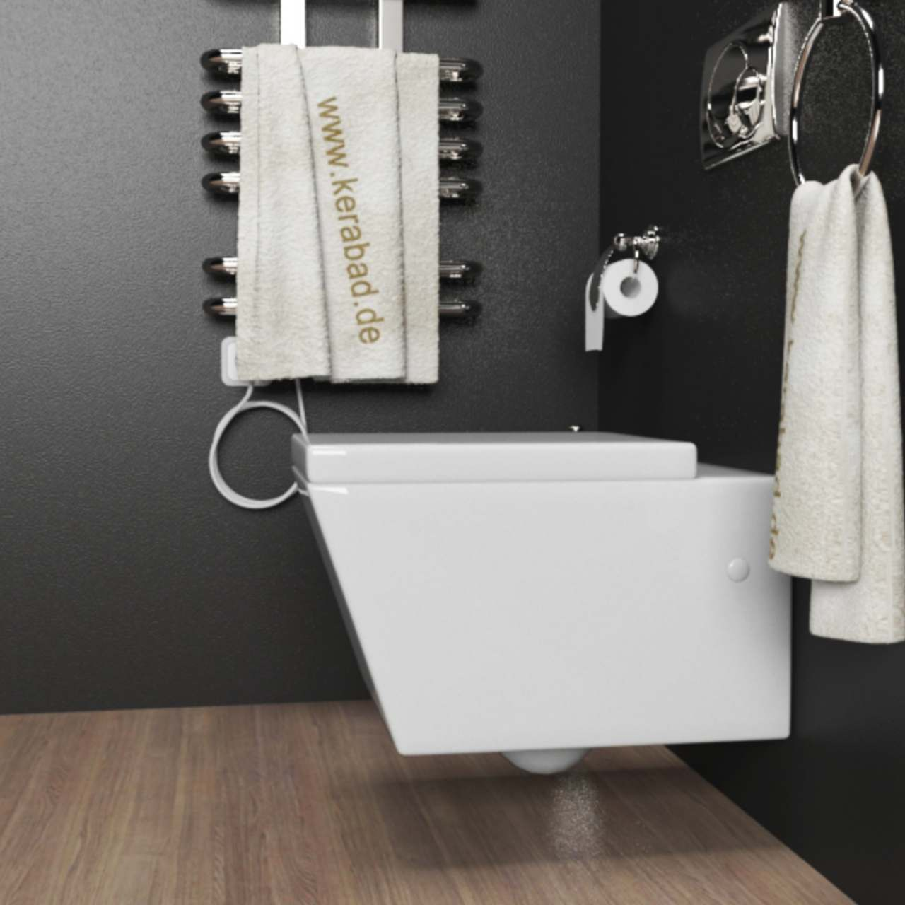 design wand h nge wc toilette inkl duroplast wc sitz mit absenkautomatik ebay. Black Bedroom Furniture Sets. Home Design Ideas