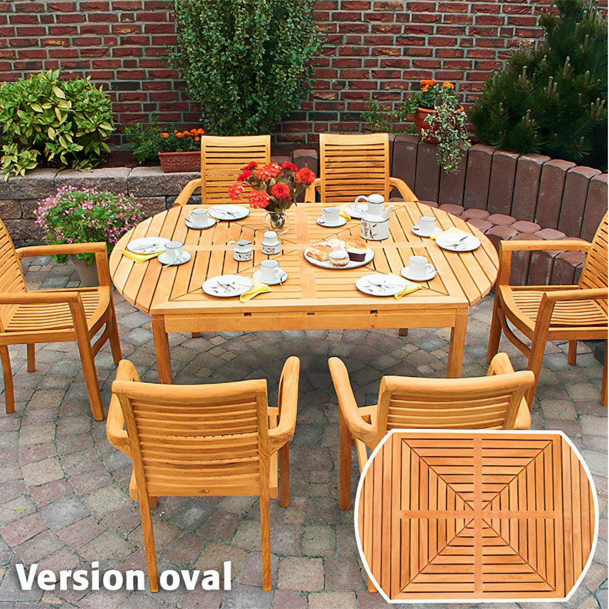 Garten & Terrasse Sitzgarnitur TEAK Gartenmöbel Gartenbank