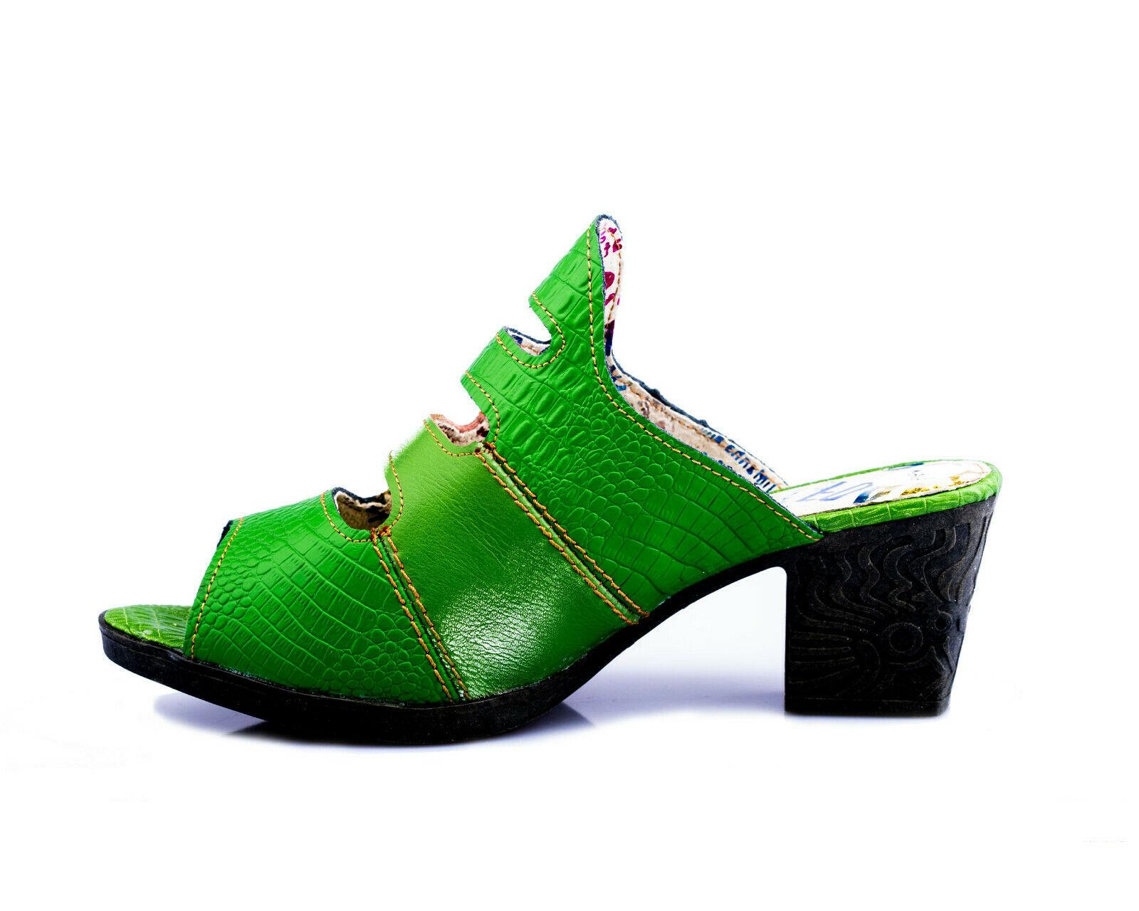 Details zu TMA 1101 Damen Sandaletten Pumps Echt Leder Sommer Schuhe grün alle Gr. 36 42