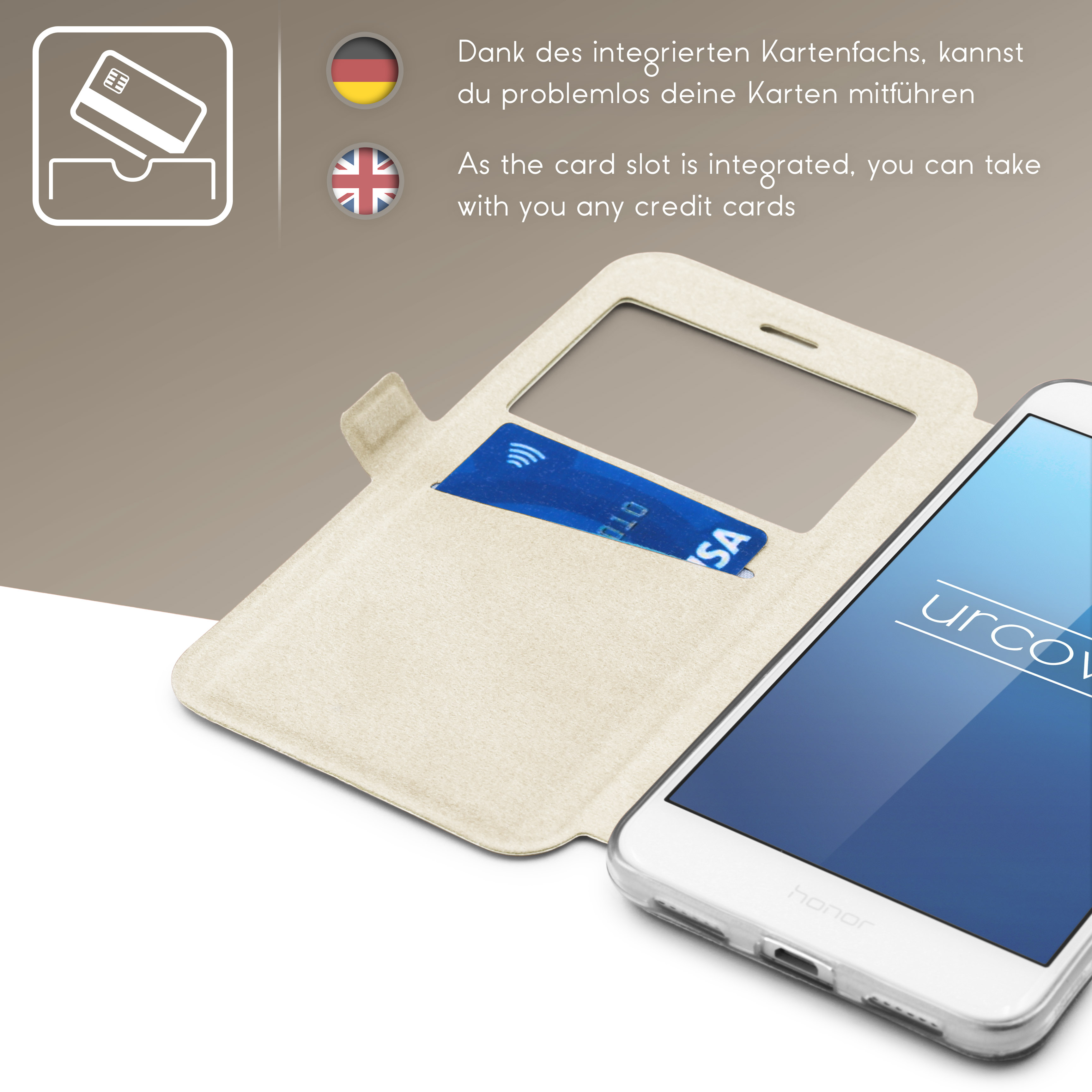 Urcover-for-Apple-Samsung-Sony-Huawei-Smart-View-Case-Flip-Wallet-Stand-Cover thumbnail 18