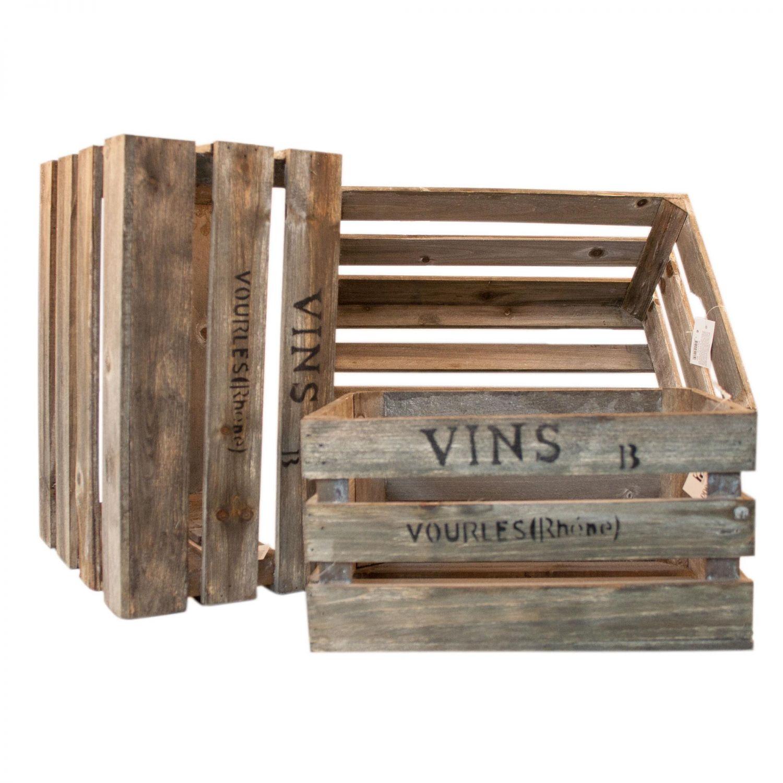 3 x weinkisten weinsteige aus holz kisten vintage holzkisten retro deko boxen ebay. Black Bedroom Furniture Sets. Home Design Ideas