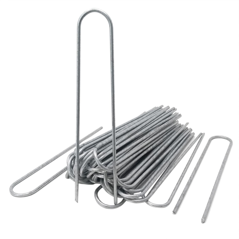 100 Stück Erdanker Stahl Verzinkte Bodenanker 20cm lang Unkrautvlies Gartenvlies