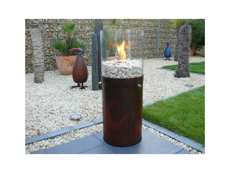 terrassen-kamin glas-feuer xxl modell no. xii edel-rost bio-ethanol