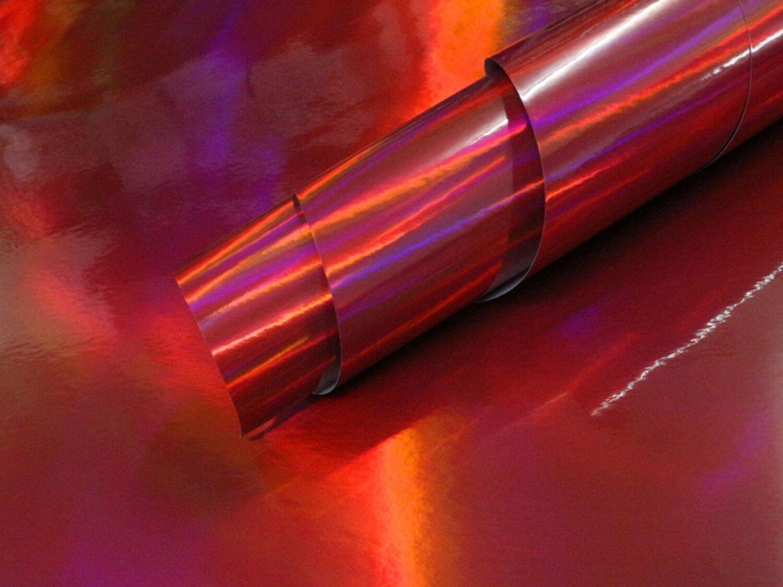 3D HOLOGRAPHIC Chrom ROT RAINBOW Laserchrom Effektfolie Wrappingfolie Wrapping
