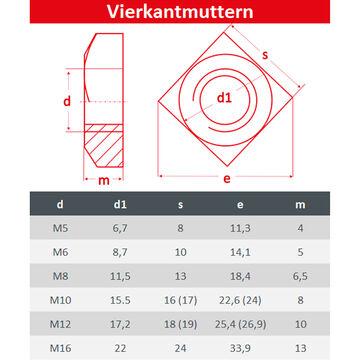 Einlegemutter DIN 557 Gleitmutter 10 St/ück FASTON Vierkantmuttern M5 Edelstahl A2 V2A