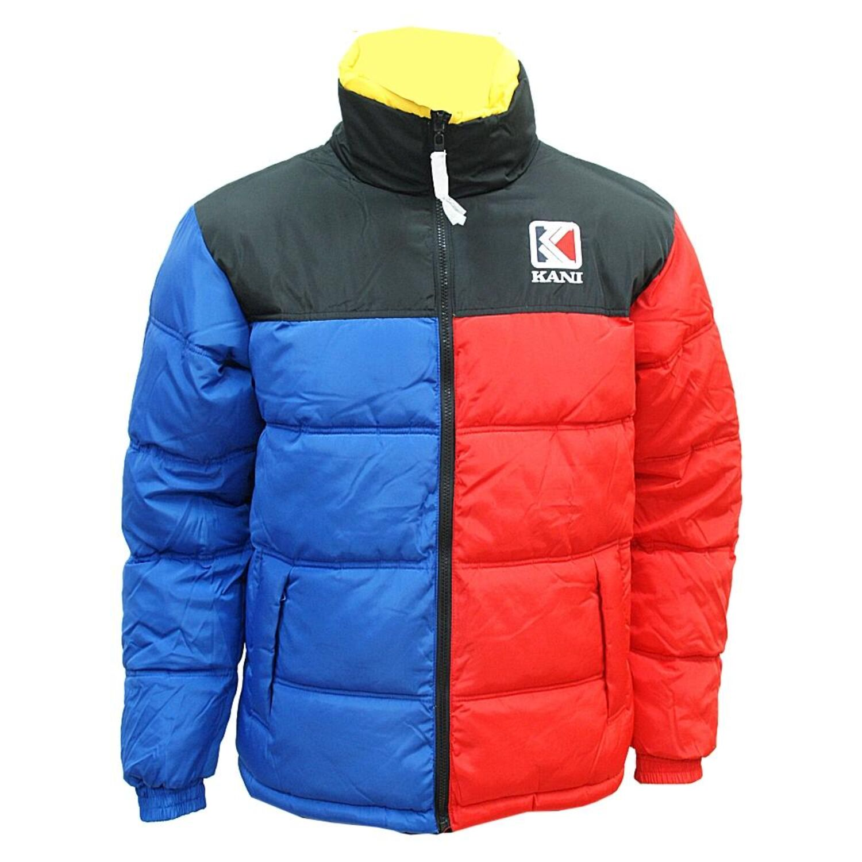 Karl Kani Retro Reversible Puffer Jacket BlueRedYellowBlack