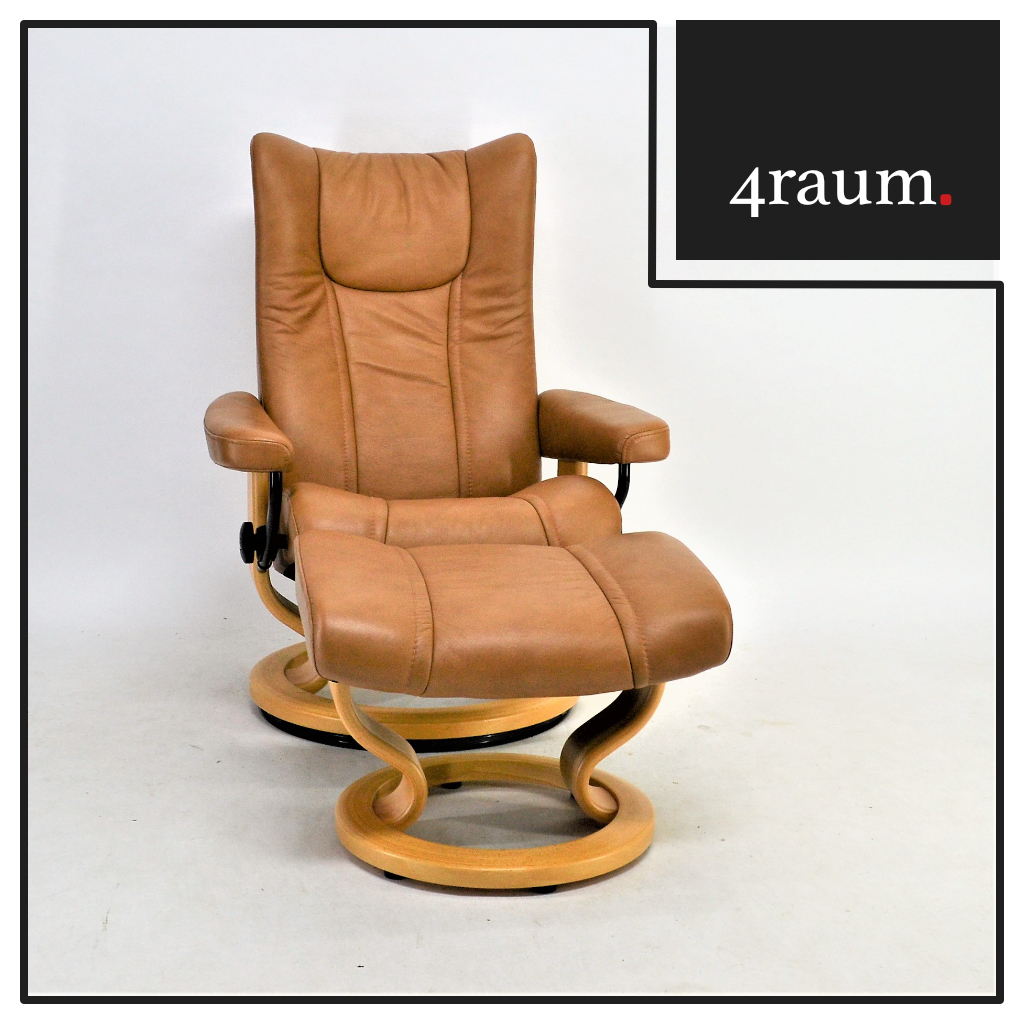 ekornes stressless reno chair l with stool leather reclining tv gamer cinema top ebay