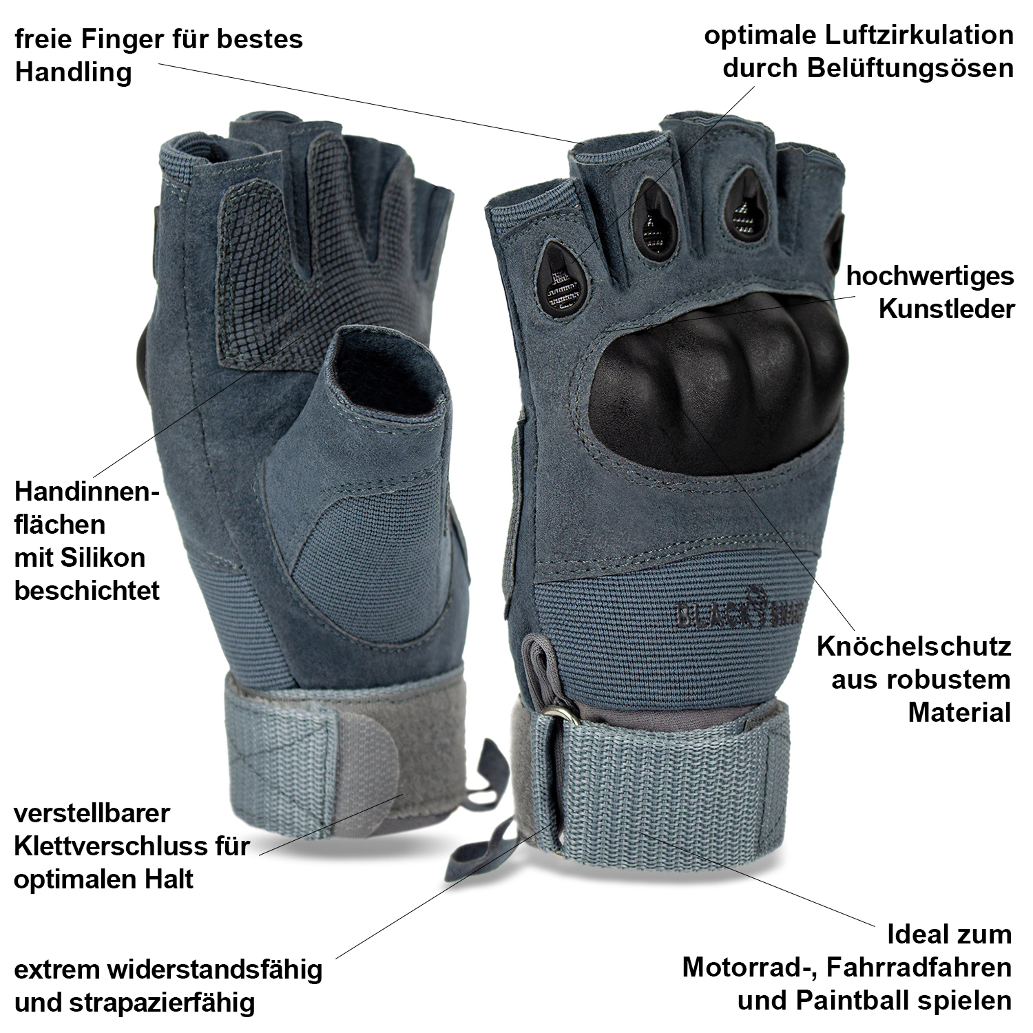 Paintball Halbfinger Handschuhe Tactical Knöchelschutz Softair Gloves Jagd