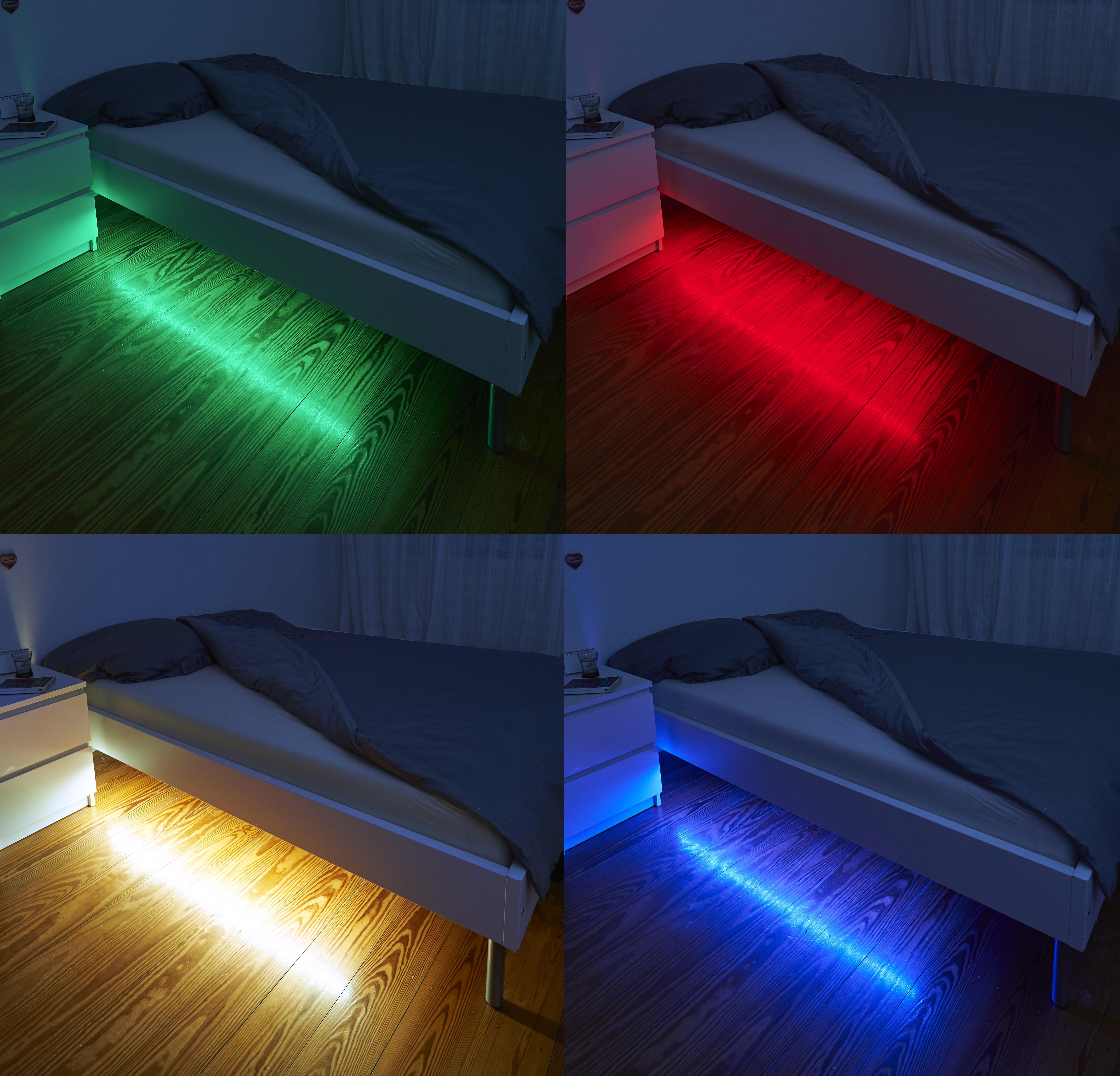 LED-Beleuchtungsset-RGB-WEISS-mit-Bewegungsmelder-Unterbauleuchte-Bettleuchte