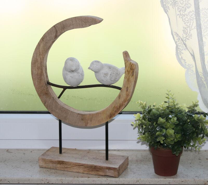 Skulptur Vögel im Ring Ast Massiv aus Mangoholz 20 x 33 x 47 handgemacht Unikate