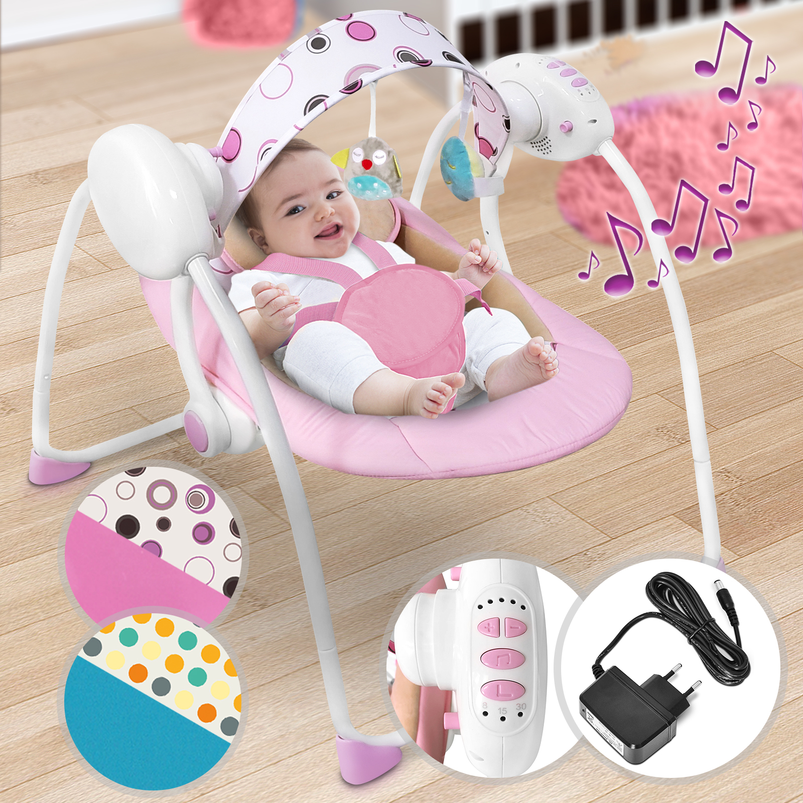 Baby-Bouncer-Music-MP3-Swing-Rocking-Chair-Infant-Entertainment-Toys-U12-Months thumbnail 20