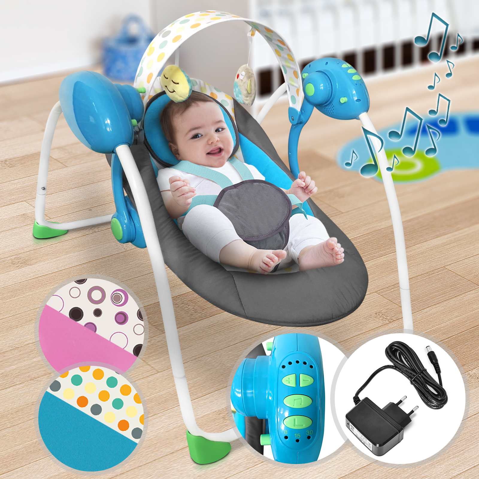 Baby-Bouncer-Music-MP3-Swing-Rocking-Chair-Infant-Entertainment-Toys-U12-Months thumbnail 12