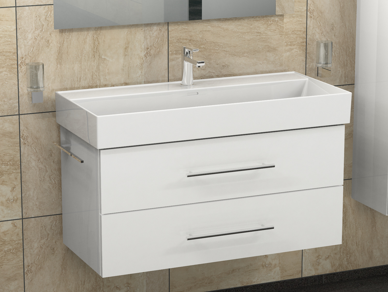 Details zu AQUA BAGNO Badmöbel Set 100cm Waschbecken Keramik Waschtisch  weiss lackiert