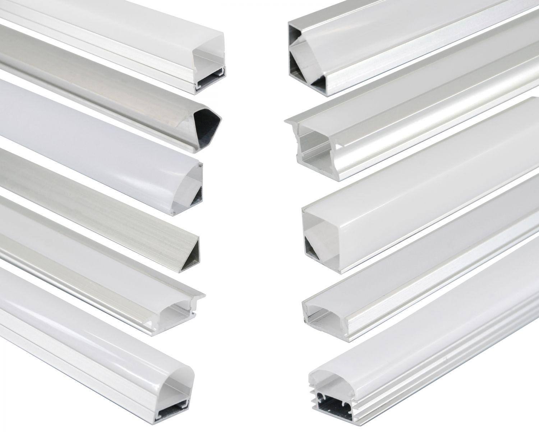 led aluprofil aluminium profile alu schiene abdeckung leiste f r led strips ebay. Black Bedroom Furniture Sets. Home Design Ideas
