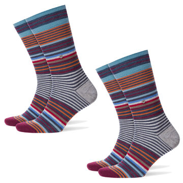 cotone 2 paia calze da uomo colorata geringelt