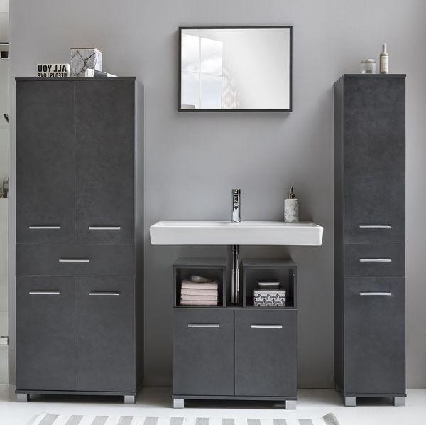 Bad-Schrank anthrazit WC-Schrank Bad-Hochschrank graphit - (3543)   eBay