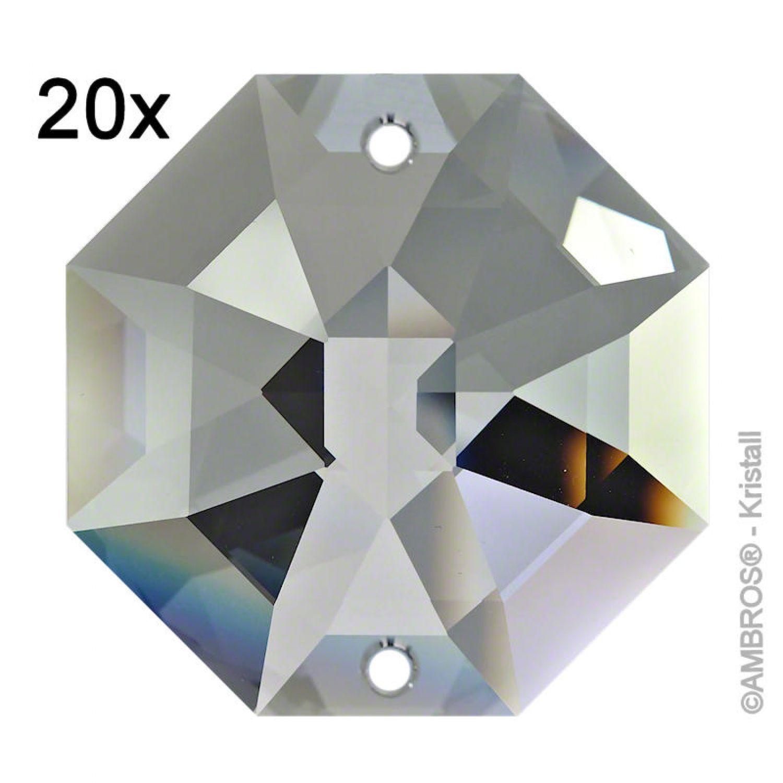 20x Kristall Oktagon 14mm 2 Loch Crystal AB  ~ Feng Shui Eyecatcher Regenbogen