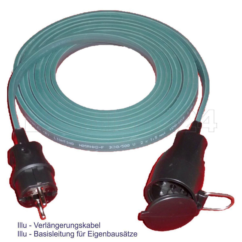 Verlängerungskabel IP44 Flachleitung WEISS 10 Meter Illu Lichterketten Basis-