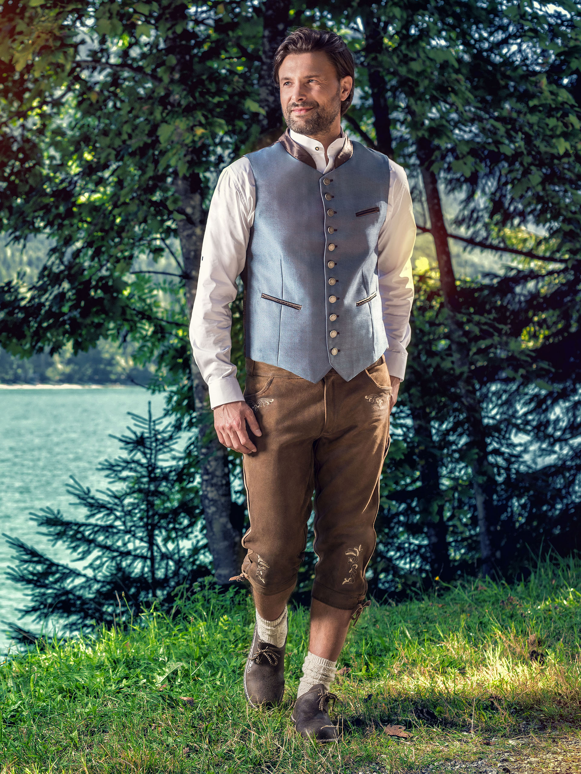 Almbock Wildbock Trachtenlederhose HerrenKniebund Lederhose in moor braun
