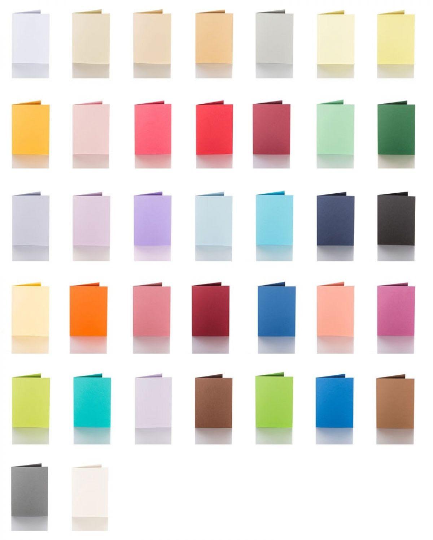 100 x 150 mm für DIN C6 Kuverts 240g Faltkarten 50 farbige blanko Klappkarten