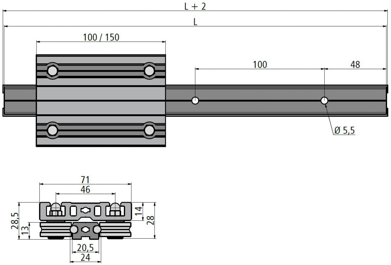 Linearschiene Alu-Verbund LSV 6-48 Länge wählbar