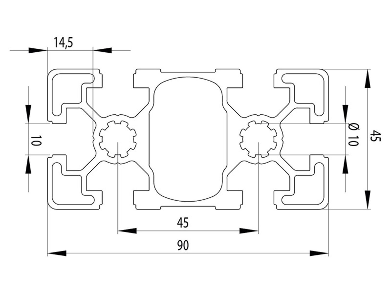 Standardlängen 46,00 EUR//m Aluminiumprofil 90x90L B-Typ Nut 10