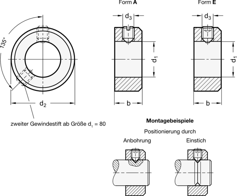 brüniert Innendurchmesser 20mm Stellring Innensechskant