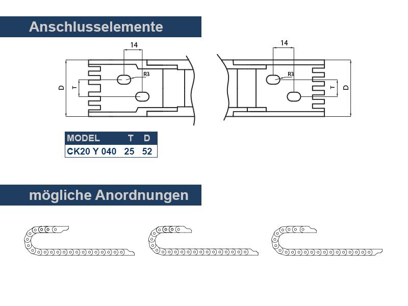 Energiekette CK 20 Länge wählbar 40mm breit inklusive Anschlusselemente