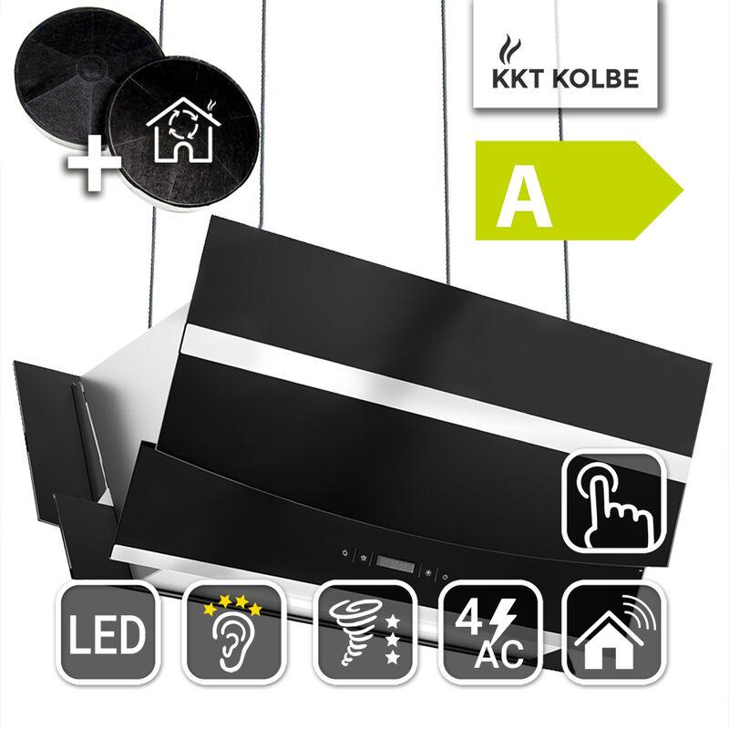Dunstabzugshaube Wandhaube 90cm kopffrei Edelstahl schwarzes Glas Smart WIFI LED