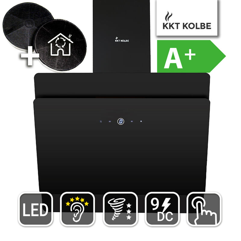 Cappa aspirante cappa a parete 90cm ACCIAIO INOX NERO RGB Illuminazione KKT Kolbe