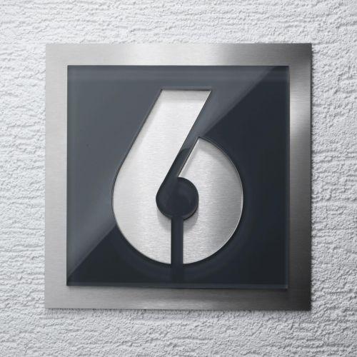 Moderne Hausnummern hausnummer edelstahl schild nummer buchstabe ral 7016 anthrazit 23 x