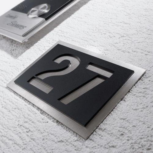 moderne hausnummer aus edelstahl alle nummern und buchstaben grau 3 fach ebay. Black Bedroom Furniture Sets. Home Design Ideas