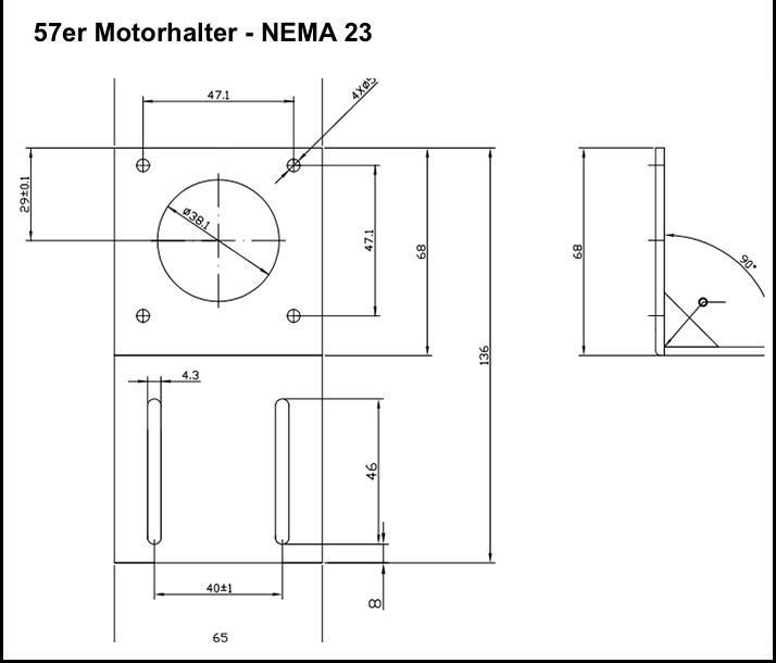 Schrittmotor Halterung L Montage 42 Schrittmotor NEMA 17 für CNC 3D Druck