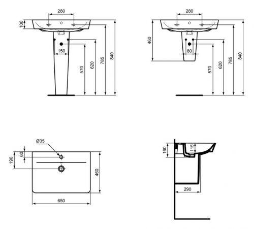 ideal standard waschtisch connect air 650x460x160mm 1 hahnloch wei e029701 ebay. Black Bedroom Furniture Sets. Home Design Ideas