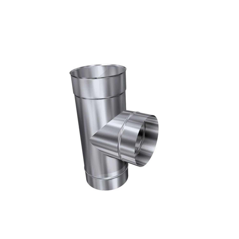 Ofenrohr Rauchrohr T-Stück T-Anschluß Ø180 Schornstein Sanierung Abgasroh 0,6 mm