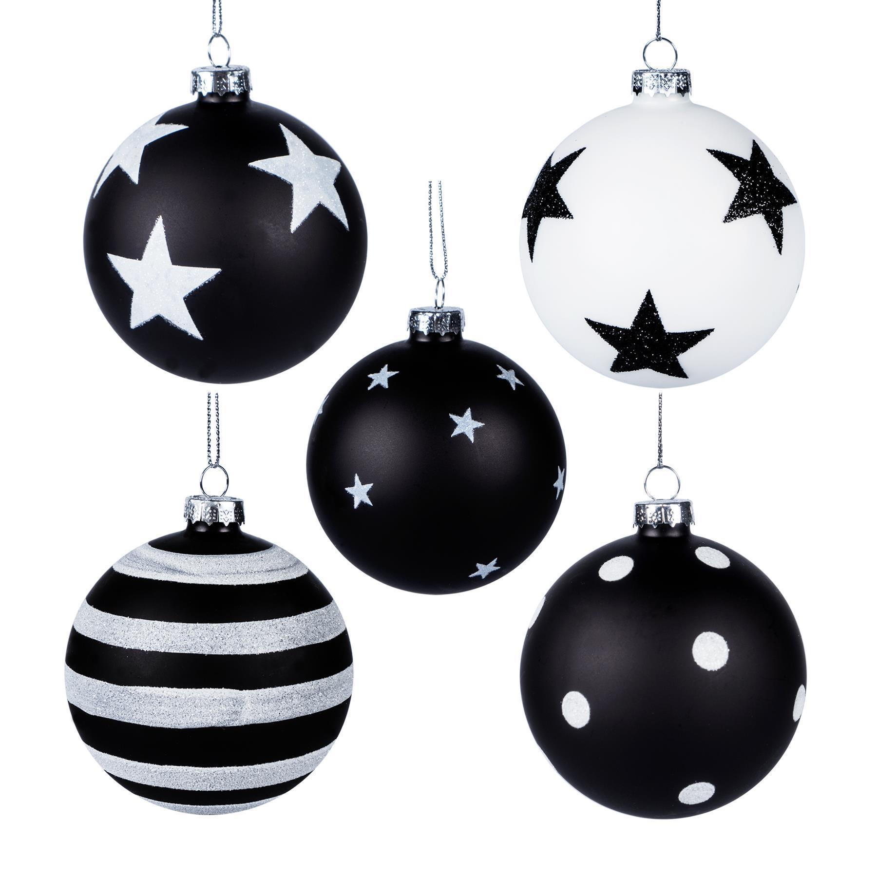 Weihnachten Schwarz Weiß Bilder.Details Zu Glaskugel Black White Stars Schwarz Weiß Gliter Stern Deko Weihnachten X Mas