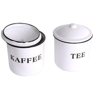 Emaille-Aufbewahrungsdose 3er Set Tee Zucker 12cm Kaffee