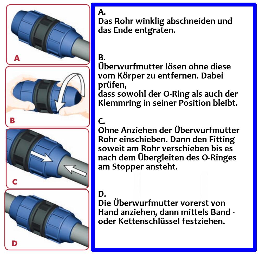 PE Verschraubung PP Klemmfitting Rohr Muffe Klemmverbinder Fitting Kupplung