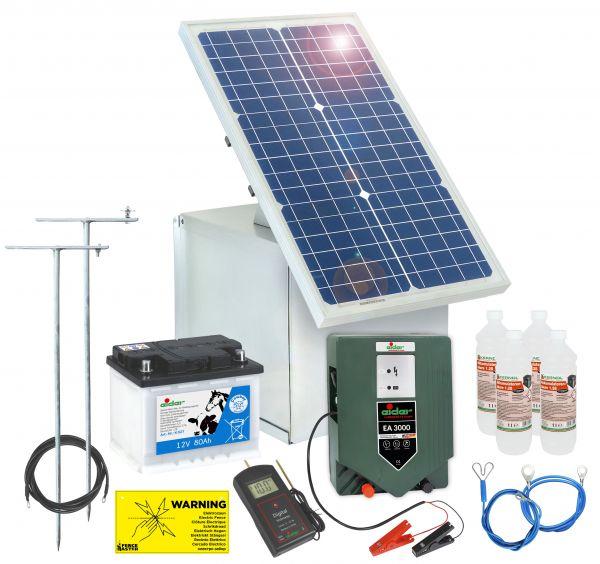 Solar Elektrozaun: Weidezaungerät, 30W Modul, Box, Akku, Erdung ...