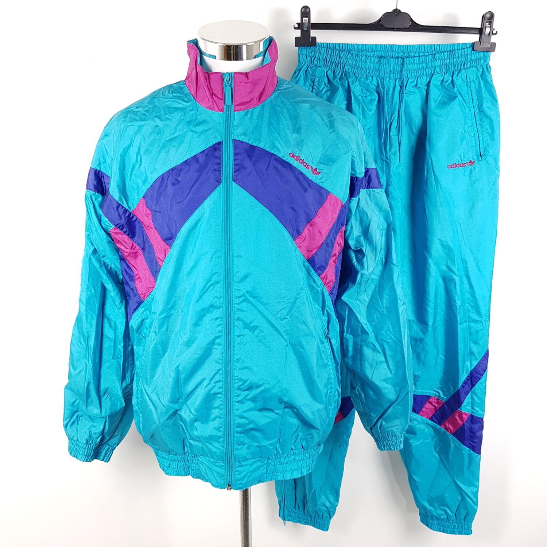 Vintage Adidas Trainingsanzug Herren Gr. 5 M Türkis Lila Rot