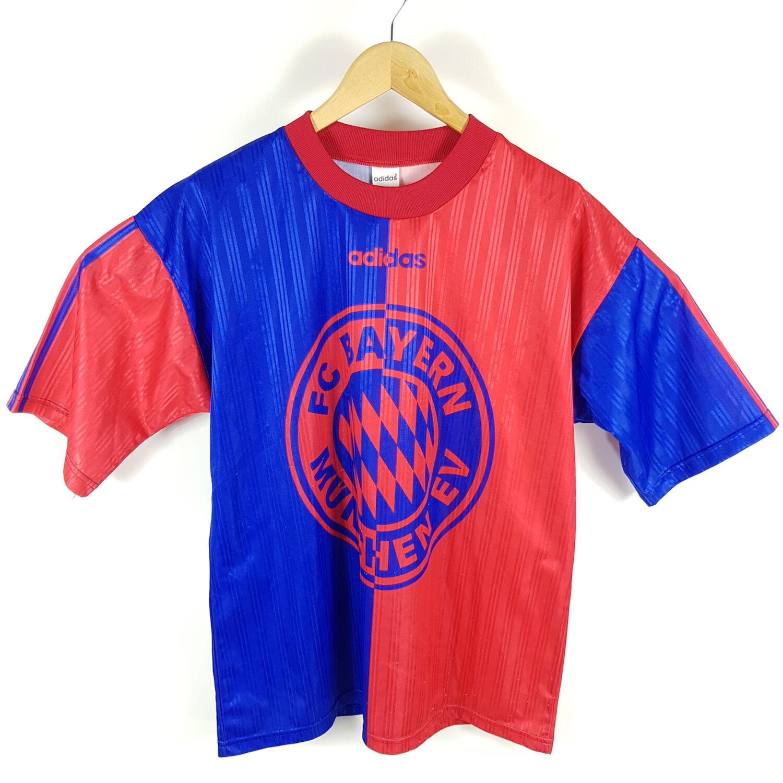 Details zu Vintage Adidas FC Bayern München Trikot T Shirt Herren M Blau Rot Retro