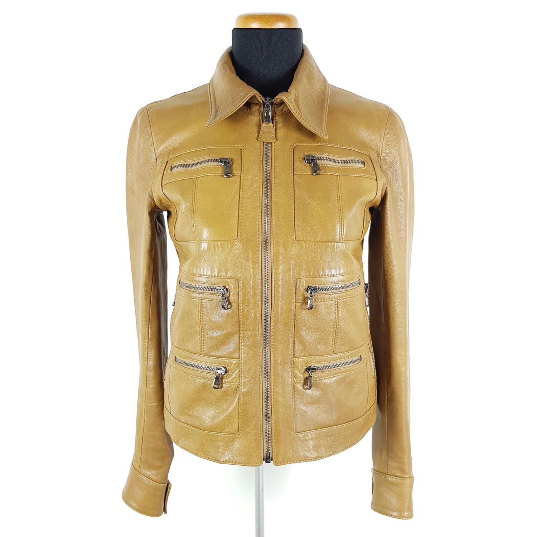 Details zu Dolce & Gabbana Lederjacke Damen Gr. DE 36 IT 40 Braun Biker Leopard Futter
