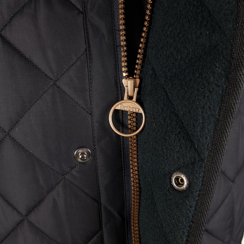 Barbour Bardon Quilted Jacket Mens L Blue Fleece Lining