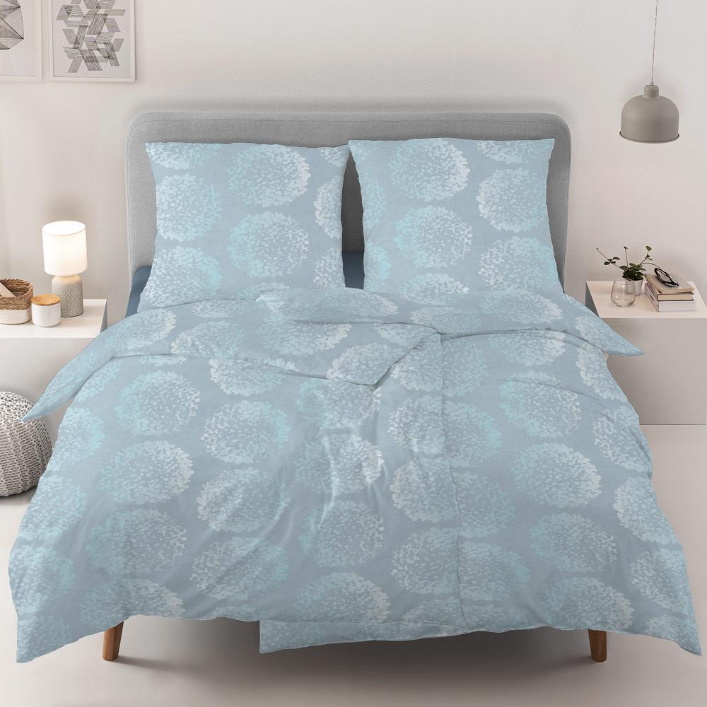 Estella Jersey Bettwäsche 135x200 Kreise Tupfen azur blau 6326-640