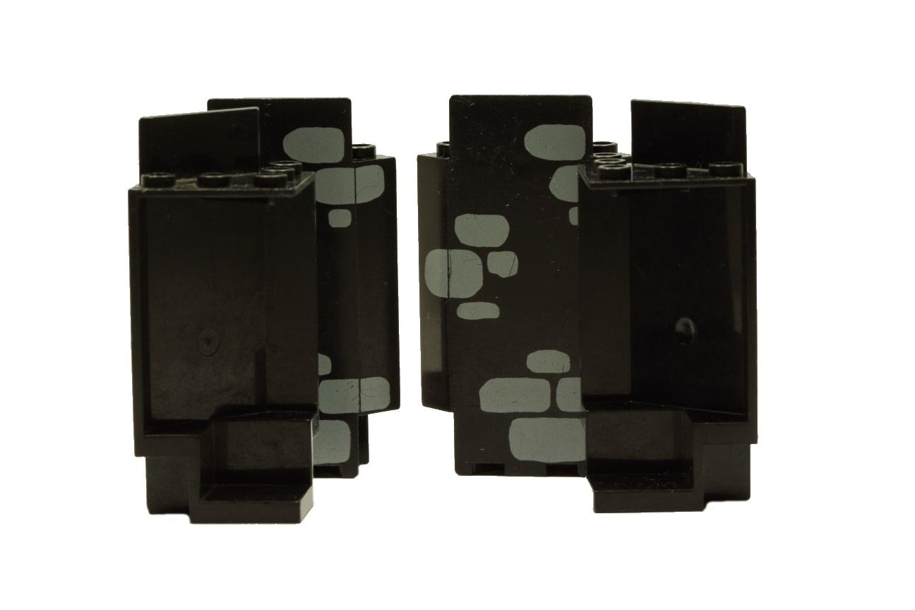 4x LEGO Bauteile Burg Teile schwarz Ritter Festung Wände ohne Fenster