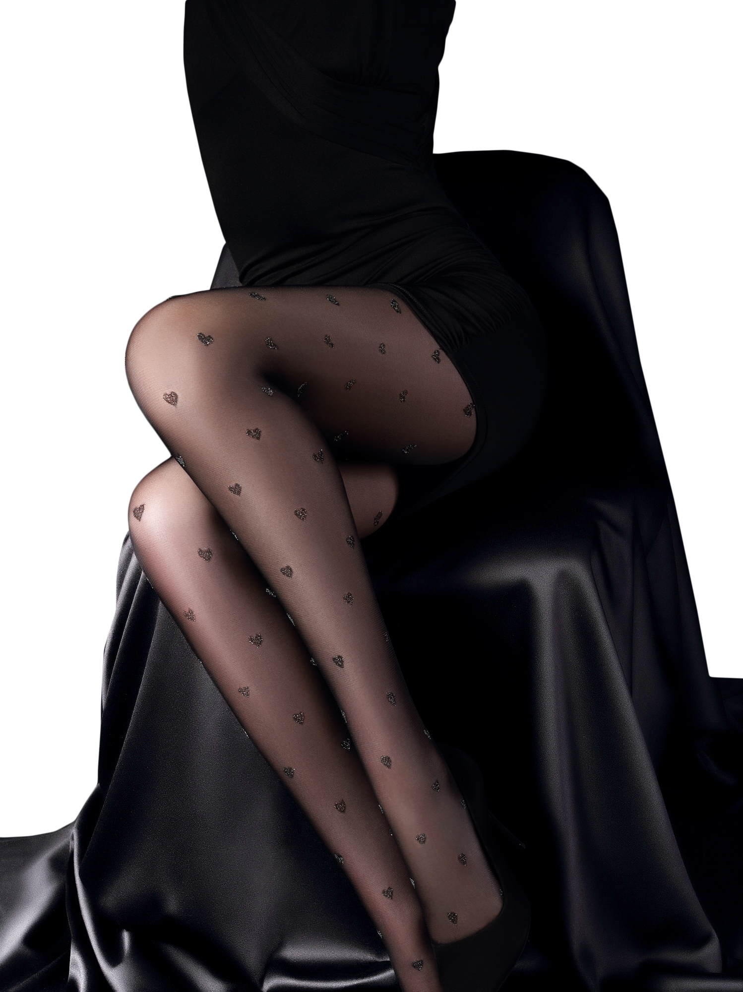 Gatta Girl-Up 24 gepunktete Strumpfhose in Strapsoptik Overkneelook Muster chic